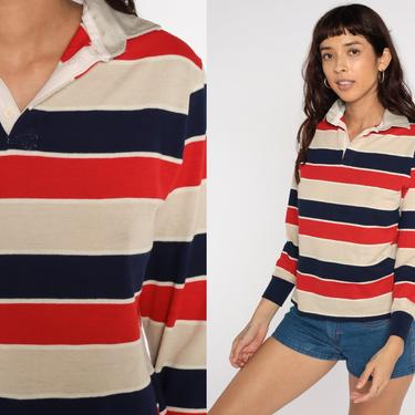 Striped Polo Shirt Tan Navy Red Long Sleeve Polo Shirt 80s Shirt Blue Half Button Up Collared 1980s Retro Vintage Small S by ShopExile