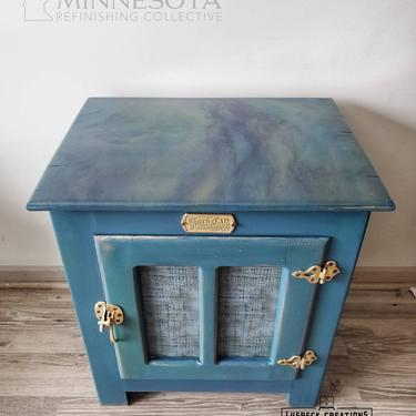 Resin Art End Table. White Clad Ice Box night stand. Peacock custom epoxy wood teal blue gold. Hand poured. by LuebeckCreations