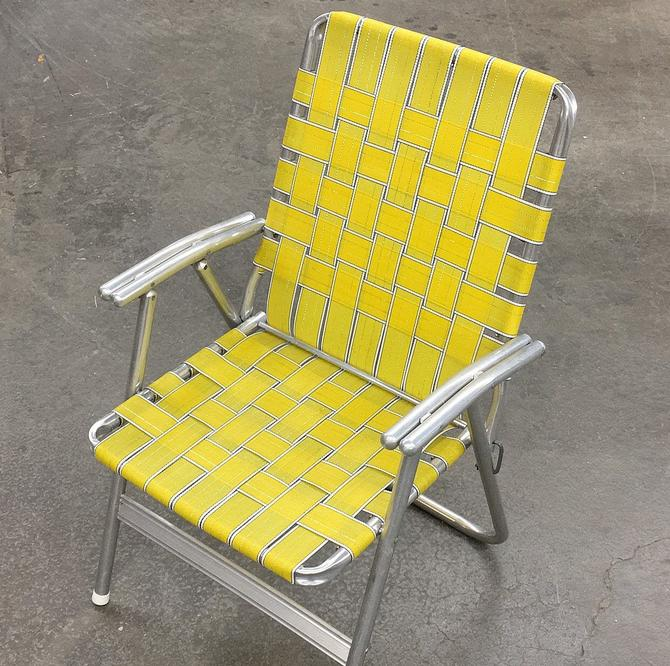 Vintage Lawn Chair Retro 1960s Mid Century Modern + Silver Aluminum Frame + Yellow Webbing + Metal Armrests + Outdoor Seating + Patio by RetrospectVintage215
