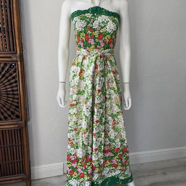 Vtg 70s floral halter maxi dress SM by AnimalVintageMiami