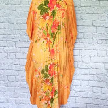 Vintage 70s Beach Two Potato Kaftan // Orange Floral Groovy Dress by GemVintageMN