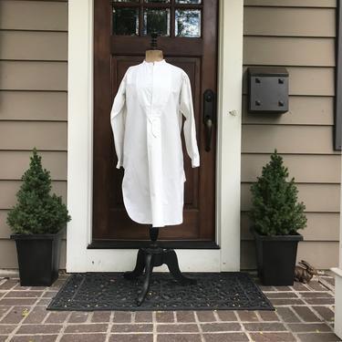 French Edwardian Chemise, Mens Dress Shirt, Fine Quality White Cotton, Monogrammed, Original Label by JansVintageStuff