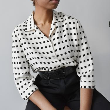vintage silk geometric print blouse, 90s black & white button down shirt, size L by ImprovGoods
