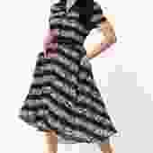 Unique Vintage 1950s Black & Floral Stripe Alexis Swing Dress