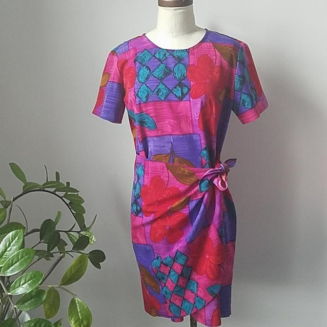 9da6369f5d15 Vintage Hawaiian Floral Faux Wrap Skirt Dress | Vintage Wrap Dress ...