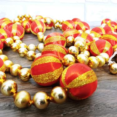 2 Red and Gold Mercury Bead Glass Garland Strand Vintage Christmas Decoration Made in Japan by RedsRustyRelics