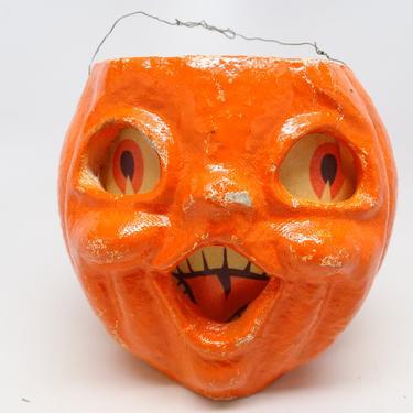 Vintage 1950's Halloween 5 Inch Jack-O-Lantern, Choir Boy made with Pulp Paper Mache, Antique JOL Retro Decor by exploremag