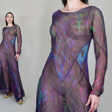 Vintage Tie Dyed Silk Dress   Cosmic Tye Dye Dress by WisdomVintage