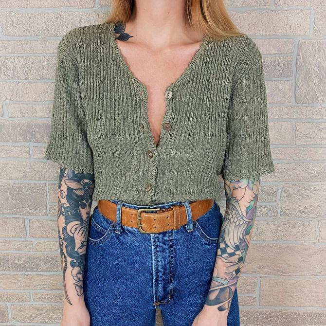 Sage Green Silk Knit Button Front Sweater Top by NoteworthyGarments