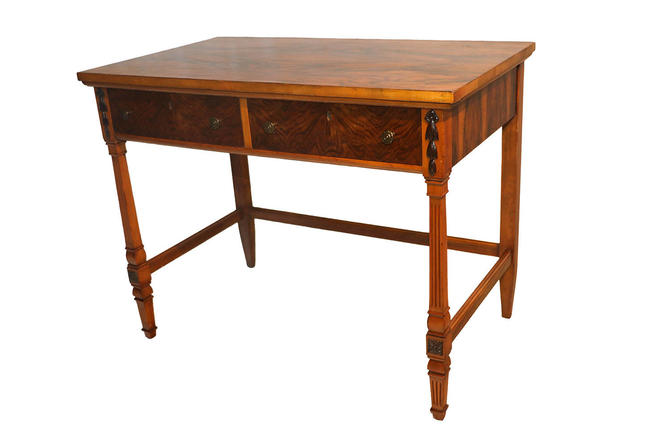 Figured Walnut and Maple Side Table Desk by Marykaysfurniture