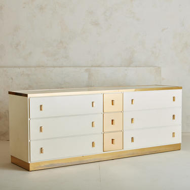 White Dresser with Brass Details by Luciano Frigerio