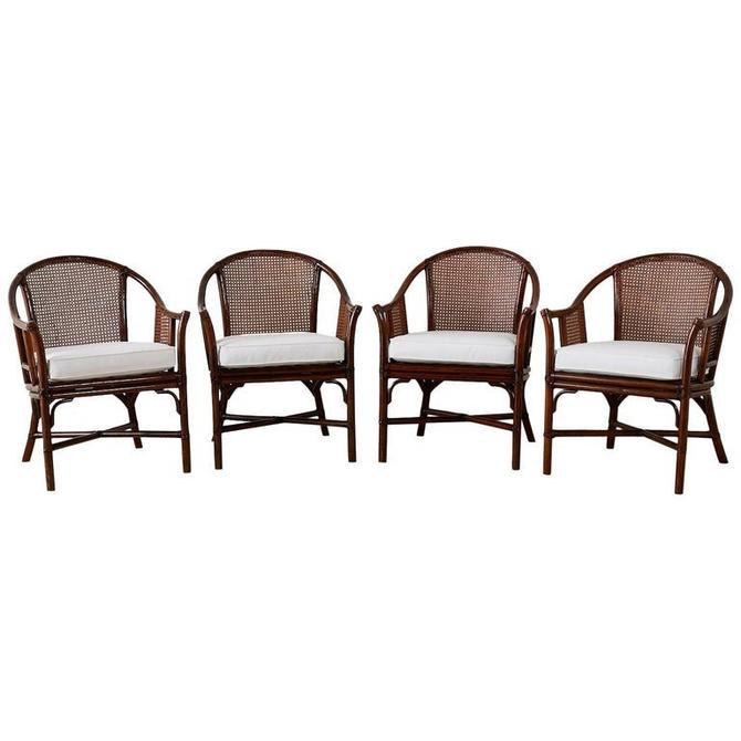 Set of Four McGuire Rattan Cane Horseshoe Lounge Chairs by ErinLaneEstate