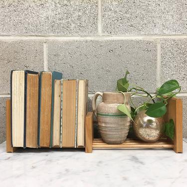 Vintage Sliding Bookend Retro 1990s Beige Wood Rack + Expanding Size + Book Storage + Shelving Organization + Home and Shelf Decor by RetrospectVintage215