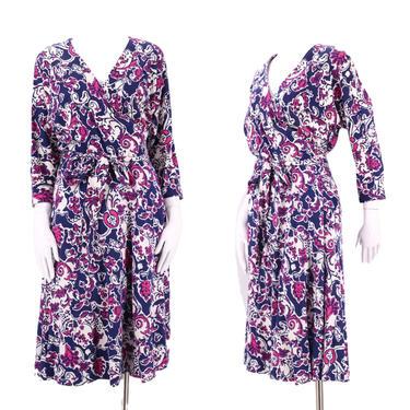 80s DVF abstract print classic wrap dress 12 / 1980s vintage Diane Von Furstenberg white navy pink sash tie dress Large 1970s by ritualvintage