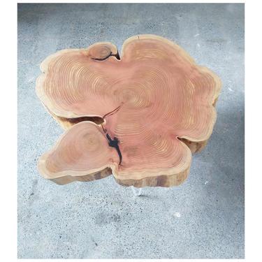 live edge coffee table - urban salvage - nimbus cloud table - natural edge with midcentury modern hairpin legs - flower - cedar flare by birdloft