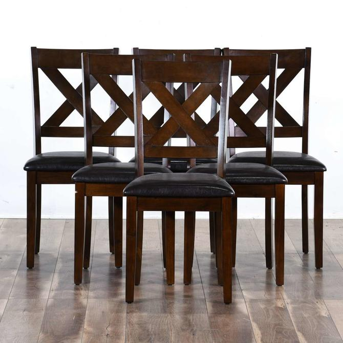 Set 6 Contemporary Cross Back Dining Chairs