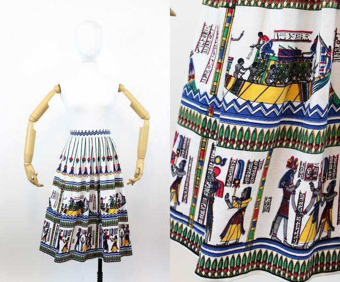 1950s novelty skirt | cotton canvas Egypt print | xs - small by CrushVintage