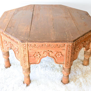Stunning and Unique Vintage Hand Carved Solid Wood Bohemian Octagon Coffee Table by PortlandRevibe