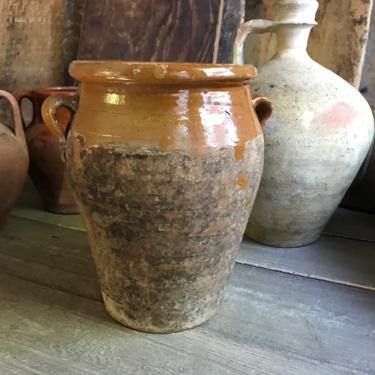 19th C Pottery Jar, Confit, Terra Cotta Pot, Large Olive Jar, Slip Glaze Pottery, Rustic Farmhouse, Farm Table by JansVintageStuff