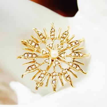 """Vintage 14K Gold Seed Pearl Sunburst Pendant/Brooch, Beautiful Yellow Gold Starburst Pendant, Intricate Pearl Encrusted Pin, 1 1/2"""" by shopGoodsVintage"""