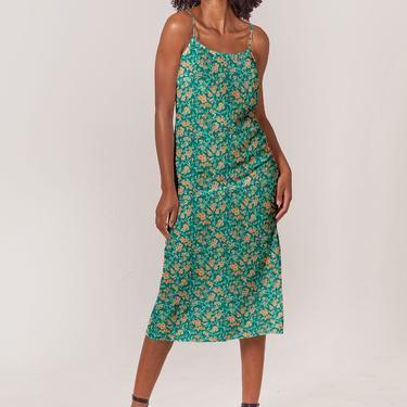 Stevie Slip Dress   Green Paradise Orchid
