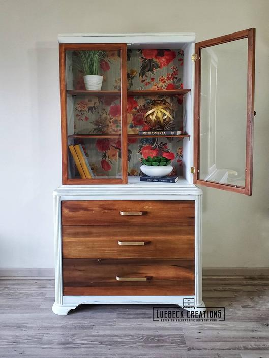 White and Wood China Cabinet. Refinished Antique Cabinet. Art Deco Hutch. by LuebeckCreations