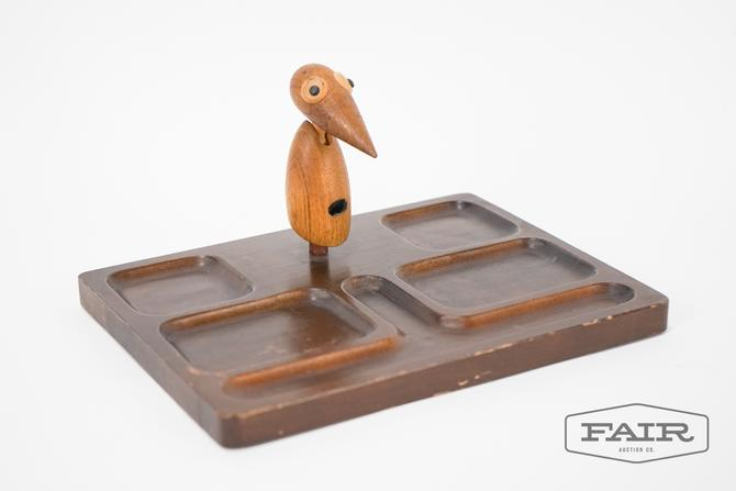 Wooden tray with decorative bird