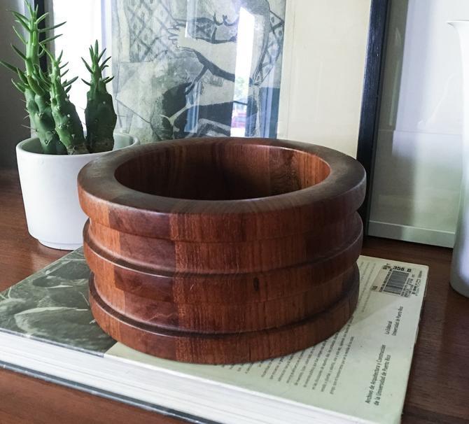Erik Jørgensen Staved Teak Bowl Centerpiece by WoodLine Denmark Vintage Mid Century by CaribeCasualShop