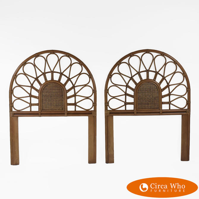 Pair of Bamboo Fretwork Twin Headboards