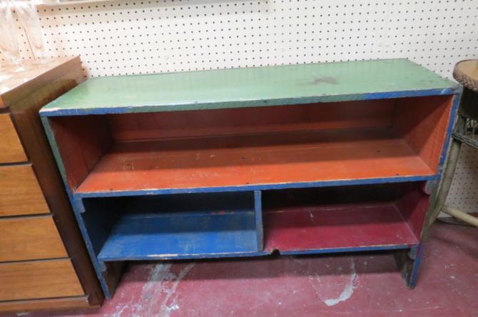 Vintage Antique primitive wood shelf unit, c1930.