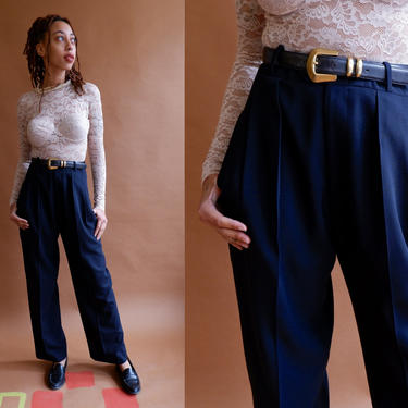 Vintage 80s Navy Blue Trousers/ 1990s High Waisted Pleated Dress Pants/ Dark Blue Black Pants/ Size 28 by bottleofbread