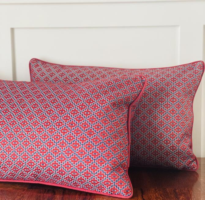 Pillow, Blue and Red Embroidered