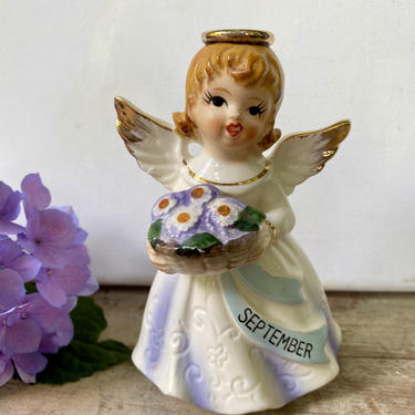 Vintage Nippon September Birthday Angel, Holding Bouquet Of Flowers, Daisies, September Birthday Gift, Angel Figurine by luckduck
