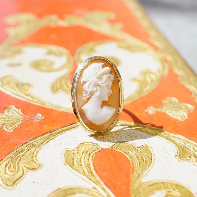 Vintage 14K Gold Cameo Ring, Mid Century Classic Relief Cameo Ring, Long Finger Oval Carved Shell Ring, 585 Jewelry, Size 7 US by shopGoodsVintage