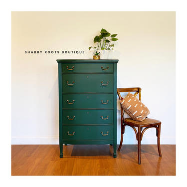 NEW! Tall Antique Emerald Green Dresser chest of drawers narrow and slender. San Francisco Bay Area by ShabbyRootsBoutique