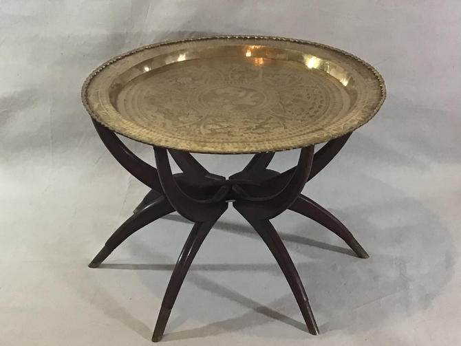 Mid-Century Folding Brass Tray Coffee Table With Spider legs. by SouliDesign