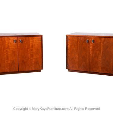 Pair Mid Century Walnut Nightstands Cabinets Attributed to Jack Cartwright by Marykaysfurniture