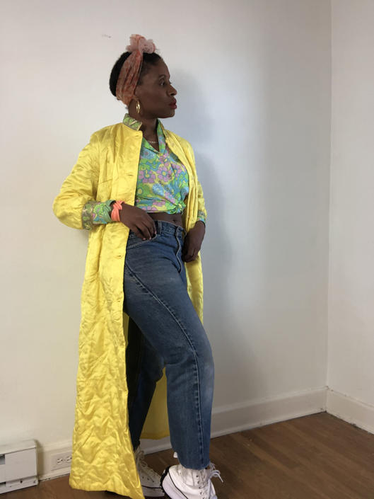 Vintage 1950s 1960s 60s Quilted Padded Bathrobe Robe Kimono Duster Jacket Floral Trim Yellow Green Rhinestone Button Small Medium by KeepersVintage