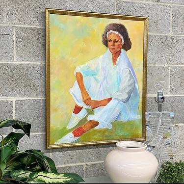 Vintage Portrait Painting 1980s Retro Size 32x26 Contemporary + Woman Sitting + Mall Walker Outfit + Pastel Colors + Acrylic on Canvas + Art by RetrospectVintage215