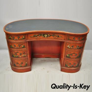 Chinoiserie Georgian Oriental Green Leather Top Red Lacquer Kidney Shape Desk