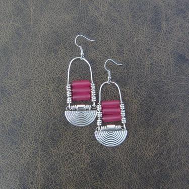 Pink sea glass earrings, chandelier earrings, statement earrings, bold earrings, etched metal earrings, tribal ethnic earrings, chic by Afrocasian