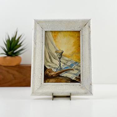 Vintage Oil Painting Original, Framed 5 x 7 Still Life Painting, Small Art Wall Decor by PebbleCreekGoods