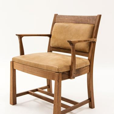 Walnut & Leather Captain's Chair by BenNewmanFurniture