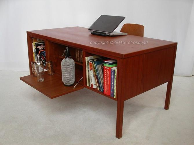 "Teak Danish Modern Executive Desk, Bar by Gunni Omann for Omann Jun ""Model 77"""