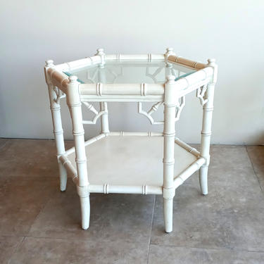 Pair of Thomasville Allegro Octagonal Faux Bamboo End Tables by ModernPicks