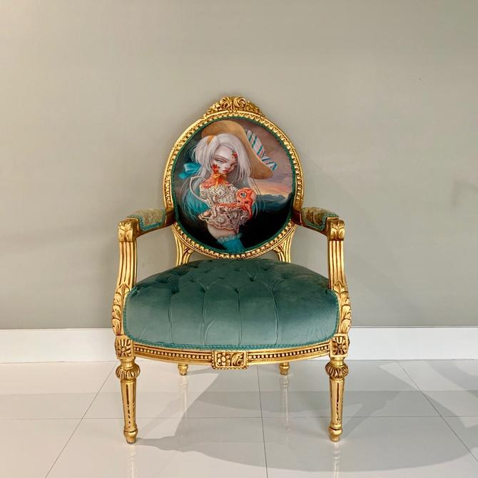 SOLD* SCOPE Miami Beach Original Piece Displayed during Art Show French Chair Vintage Furniture w/ Nataly #Kukula Art Tufted Chair by SittinPrettyByMyleen