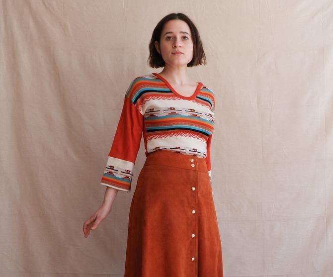 Vintage 70s Thunderbird Print Knit Top/ 1970s Burnt Orange Graphic Sweater/ Size Small Medium by bottleofbread