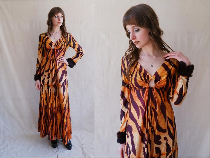 Vintage 70s Tiger O-Ring Dress with Fur Cuffs/ 1970s Long Sleeve Cut Out Maxi Dress/ Size Small Medium by bottleofbread