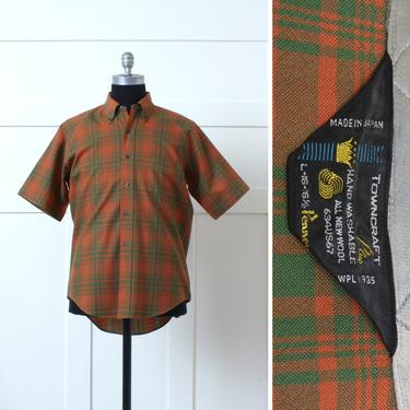 mens vintage 1960s - 1970s short sleeve wool shirt •orange & plaid button down • Penney's Towncraft Japan by LivingThreadsVintage