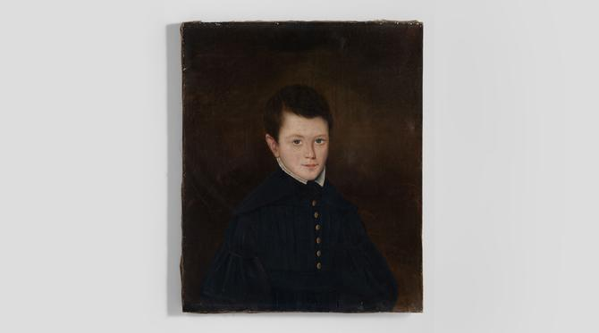 Oil Painting of a Youth in a Blue Jacket